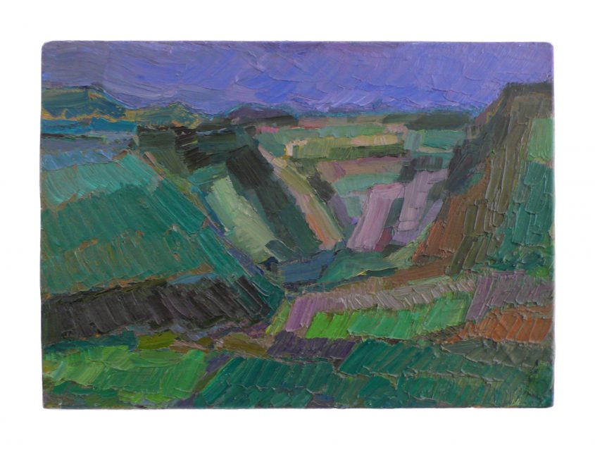 1990 blue canyon 30x43cm oil on canvas